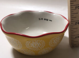 Pioneer Woman Measuring Bowl Cup Replacement 1 2 Cup Yellow Red Scallop Edge