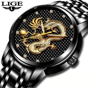 LIGE Men Watch Top Brand Luxury Gold Dragon Sculpture Quartz Watch Full Steel Wa