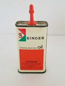 Vintage Singer Sewing Machine Oil 4 oz Tin Can Advertising Full Never Used $14.95