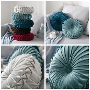 Pleated Velvet Round Pumpkin Throw Pillow Room Couch Decor Solid Cushion Pillow