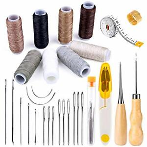 30 Pieces Leather Sewing Kit Upholstery Repair With 8 Colors Thread Needles $16.14