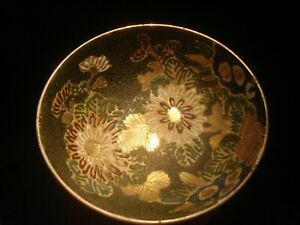Antique Meiji Period Japanese Satsuma Bowl Moriage Chrysanthemums Signed