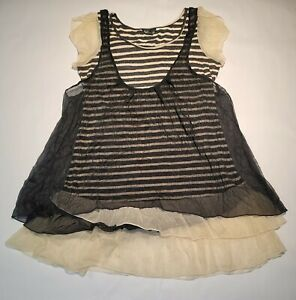 Unbranded Womens Layered Striped Blouse With Mesh See Through Overlay Size Large $9.99