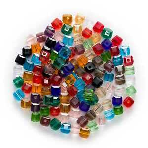 50pcs Square Faceted Crystal Glass loose spacer Beads Jewelry Making DIY $1.99
