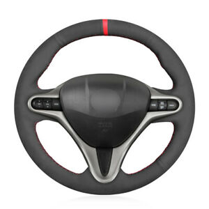 Hand Sewing Black Suede Steering Wheel Cover for Honda Civic 8 8th Gen 2010 2011 $47.18