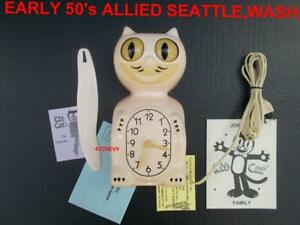 EARLY 50#x27;s PINK ALLIED VINTAGE ELECTRIC ANTIQUE KIT CAT KLOCK KAT CLOCK WORKS $449.77
