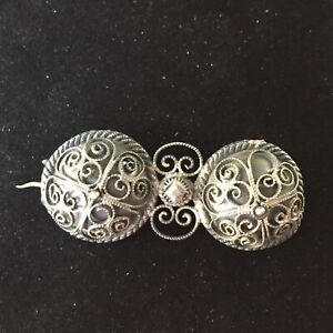 Vintage OXO Sterling Silver Victorian Art Deco Brooch Ornate Wire Norwegian