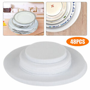 48pcs Felt Plate China Storage Dividers Protectors White Extra Large Thick 3Size