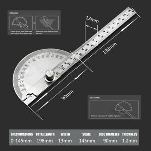 US 0 180° Stainless Protractor Angle Meter Ruler Fit For Construction Woodwork $8.63