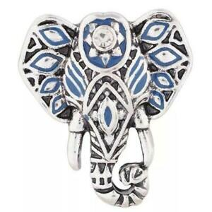 Fit Ginger Snap Blue enamel Elephant silver plated 18mm snap KC7375 $2.49