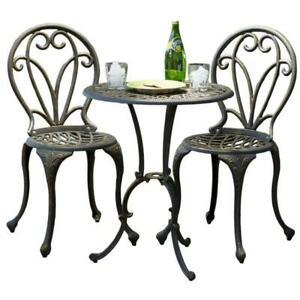 New 3 Piece Black Frame Aluminum Bistro Patio Set Table And Chairs Black Gold