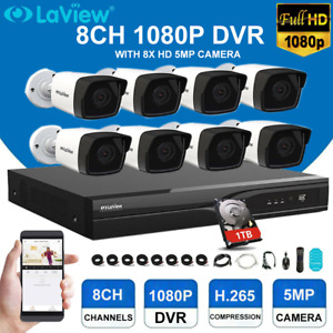 LaView 1080P 8 Channel DVR with 8X HD 5MP Camera CCTV Security Camera System Kit