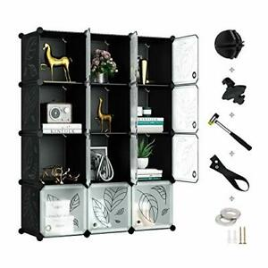 Cube Storage Organizer Plastic Closet Organizer with Doors 12 Cube DIY Storage $85.22