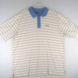 Under Armor Polo Shirt Mens XL Extra Large White Orange Striped Rugby Golf $13.51