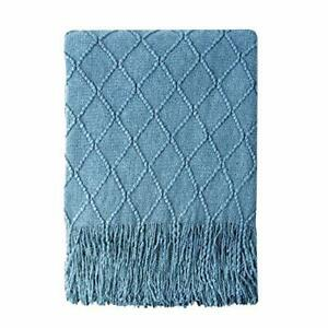 Bourina Knitted Throw Blanket Soft Sofa Throw Couch Blanket 50x60 Blue