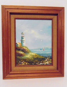 Brian Roche Lighthouse Seascape Signed Oil Painting Nautical Framed $60.00