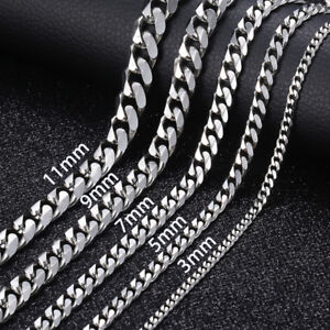 16 36 Stainless Steel Silver Chain Cuban Curb Womens Mens Necklace 3 5 7 9 11mm $7.12