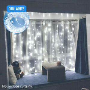 300LED 10ft Curtain Fairy Hanging String Lights Wedding Bedroom Home Decor USA $9.39