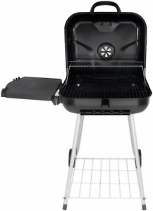 22 inch Square BBQ Portable Charcoal Grill Cooker Wheels Foldable Side Shelf