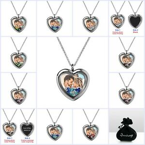 Full Color Photo Print Laser Engraved Personalized Message Heart Locket Necklace $36.98