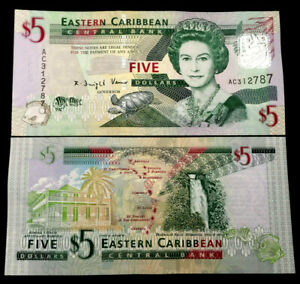 East Caribbean States 5 Dollars 2008 P47 Banknote World Paper Money UNC Currency $6.65