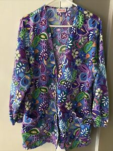 Cherokee flowered scrub long sleeves COLORS Size Large or XL ?