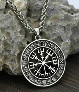 New Mens Norse Viking Rune Vegvisir Compass Pendant Necklace Stainless Steel $9.98
