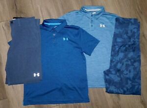 Lot 4 Boys UNDER ARMOUR Polo Shirts Match Play Golf Pants Shorts YLG Large 14 16 $54.99