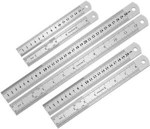 3PCS Stainless Steel Ruler Metal Ruler Set 6 8 12 inch with Inch and Metric $8.59