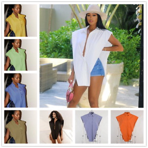 New Womens Stylish Buttons Turn Down Collar Irregular Solid Casual Shirt Tops $14.81