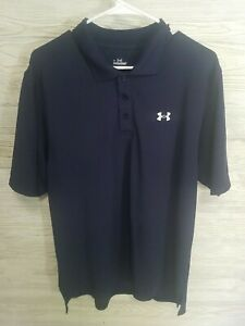 Under Armour Golf Polo Shirt Blue w White Logo Mens Size Large $11.99