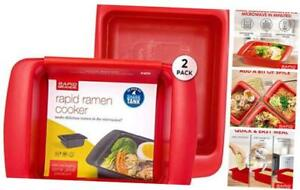Rapid Ramen Cooker Microwave Ramen in 3 Minutes Perfect for 2 Pack Red