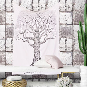 Indian Mandala Wall Hanging White Tree of Life Hippie Twin Size Cotton Tapestry $18.99