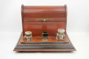 Antique Roll Top Writing Stationary Letter Box Wood Glass Inkwells and Brush