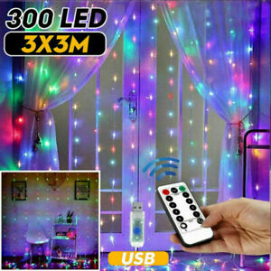300LED 10ft Curtain Fairy Hanging String Lights Wedding Party Wall Decor Lamp US $12.74