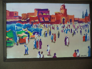 Signed Gouache Watercolor Andre Delfau Listed Artist Abstract Morroco Figures $350.00