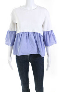 KINLY Womens Layered Poplin Top White Blue Size Small 11047910 $42.27