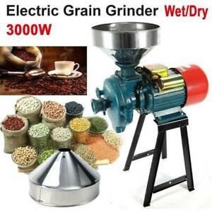 110V 3000W Electric Grinder WetDry Feed Flour Mill Cereals Grain Corn Wheat US