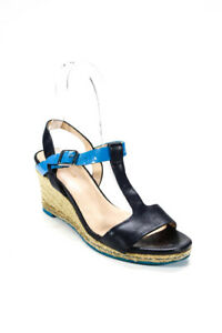 Cole Haan Womens Leather Braided Raffia T Strap Wedges Navy Blue Size 5.5 $29.01