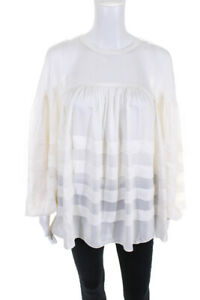 Club Monaco Womens Layered Tuck Long Sleeve Top Pure White Size Large $64.24