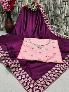 Wedding Purple Saree Sequence Embroidery Lace Border Blouse Indian Dola Silk $38.12