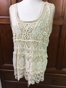 travel smith womens fitted lace knit overlay sleeveless cream shell gorgeous mus $15.00