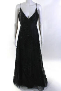 Angel Sanchez Womens Layered Beaded Gown Black Size 10 $149.99