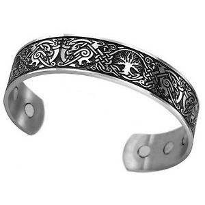 Norse Tree of Life Bracelet Silver Stainless Steel Viking Falcon Yggdrasil Cuff $19.99