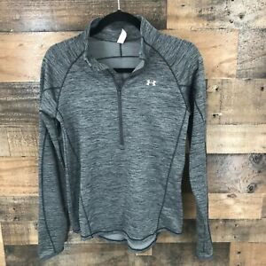 Under Armor Cold Gear Fitted Men's Heathered Gray Half Zip Mock Neck Long Sleeve $34.50