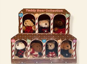 Vintage Teddy Bear Winter Costco Plush Collection 7 Total All Different IOB