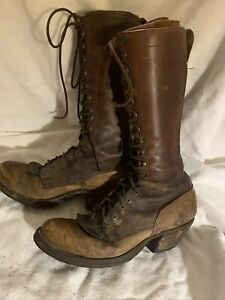 VTG 1930#x27;s Tall Leather Snake Hunting Boots Work 11 D 13quot; tall Brown Lace Up