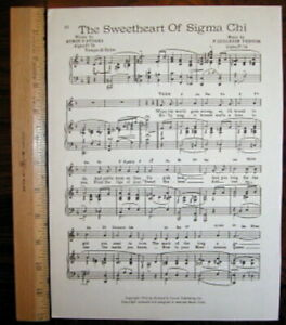 SIGMA CHI Fraternity Vintage Song Sheet c1945 quot;The Sweetheart of Sigma Chiquot;