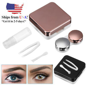 4in1 Mini Contact Lens Case Travel Kit Simple Storage Box Container with Mirror $5.39