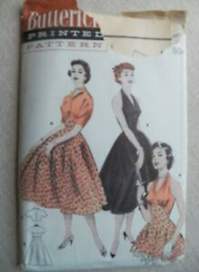 SEXY 1950s Halter Dress Butterick 6993 Vintage Sewing Pattern Size 14 $10.95